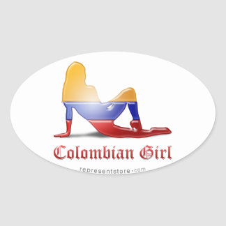 Colombian Girl Silhouette Flag Oval Sticker