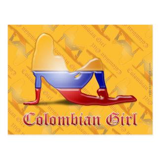 Colombian Girl Silhouette Flag Postcard