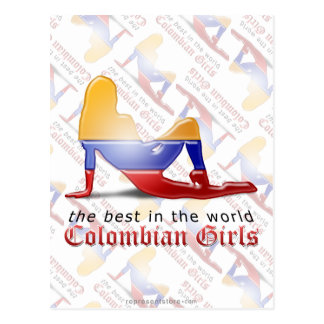 Colombian Girl Silhouette Flag Postcard