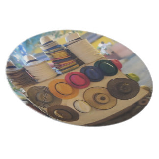 Colombian Hat Shop in the Park Melamine Plate