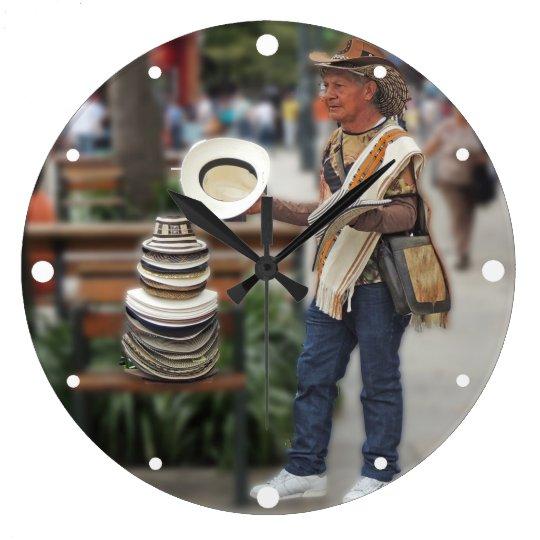 Colombian Hat Vendor Large Clock