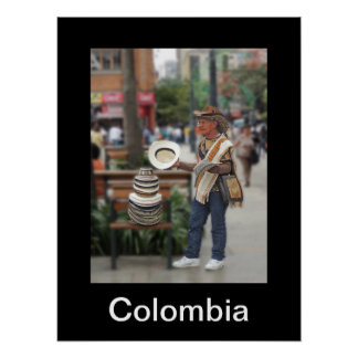 Colombian Hat Vendor Poster