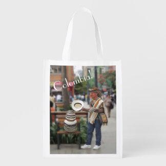 Colombian Hat Vendor Reusable Grocery Bag