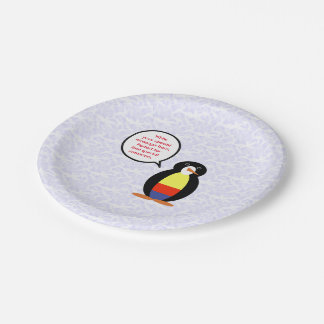 Colombian Holiday Mr. Penguin Paper Plate