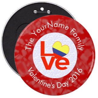 Colombian LOVE White on Red 6 Inch Round Button