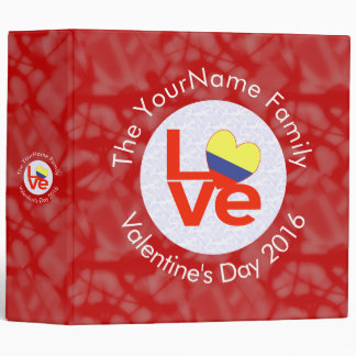 Colombian LOVE White on Red Binder