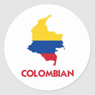 COLOMBIAN MAP CLASSIC ROUND STICKER