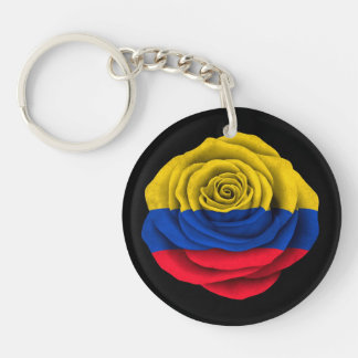 Colombian Rose Flag on Black Keychain