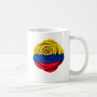 Colombian Rose Flag on Black Coffee Mugs