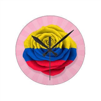 Colombian Rose Flag on Pink Clocks