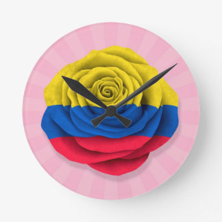 Colombian Rose Flag on Pink Round Clock