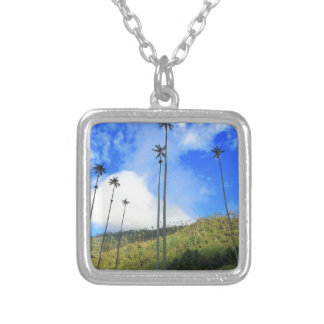 Colombian wax palm trees in the Cocora Valley Square Pendant Necklace