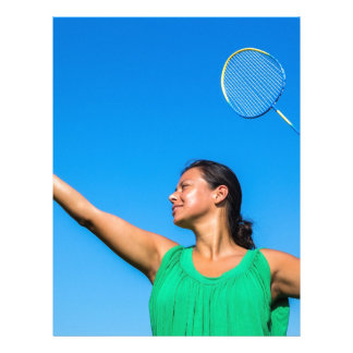 Colombian woman serve with badminton racket letterhead