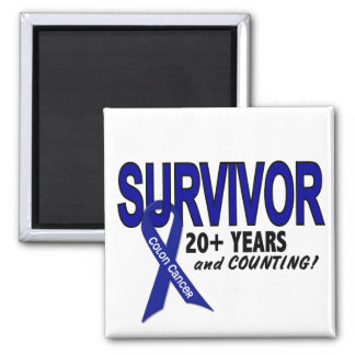 Colon Cancer 20+ Year Survivor 2 Inch Square Magnet