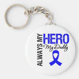 Colon Cancer Always My Hero My Daddy Basic Round Button Keychain
