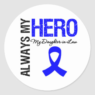 Colon Cancer Always My Hero My Daughter-in-Law Classic Round Sticker