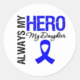 Colon Cancer Always My Hero My Daughter Classic Round Sticker
