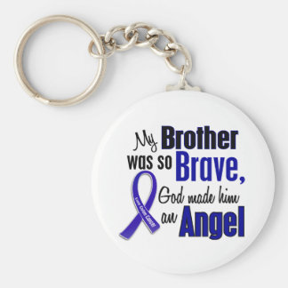 Colon Cancer ANGEL 1 Brother Basic Round Button Keychain