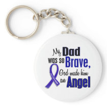 Colon Cancer ANGEL 1 Dad Keychain