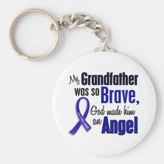 Colon Cancer ANGEL 1 Grandfather Basic Round Button Keychain