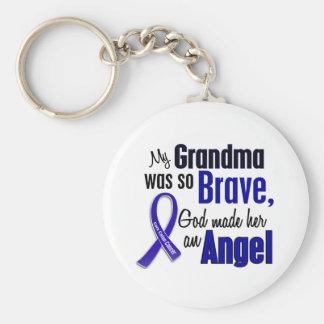 Colon Cancer ANGEL 1 Grandma Basic Round Button Keychain