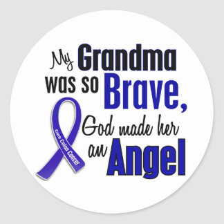 Colon Cancer ANGEL 1 Grandma Classic Round Sticker