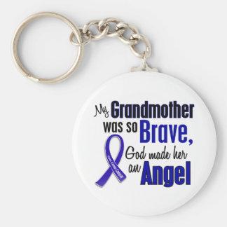 Colon Cancer ANGEL 1 Grandmother Basic Round Button Keychain