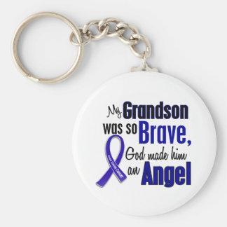 Colon Cancer ANGEL 1 Grandson Basic Round Button Keychain