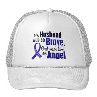 Colon Cancer ANGEL 1 Husband Trucker Hats