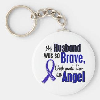 Colon Cancer ANGEL 1 Husband Basic Round Button Keychain