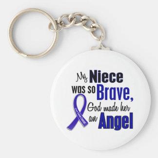 Colon Cancer ANGEL 1 Niece Basic Round Button Keychain
