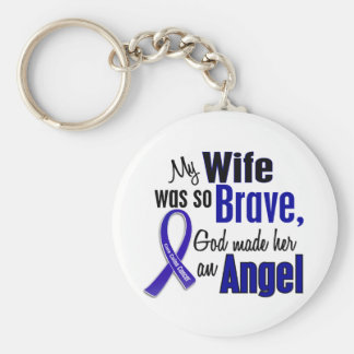 Colon Cancer ANGEL 1 Wife Keychain