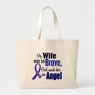 Colon Cancer ANGEL 1 Wife Large Tote Bag