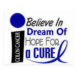 Colon Cancer Awareness BELIEVE DREAM HOPE Postcard