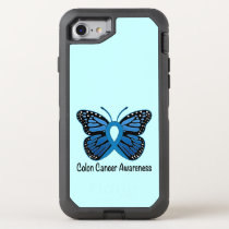 Colon Cancer Awareness: Butterfly OtterBox Defender iPhone 8/7 Case