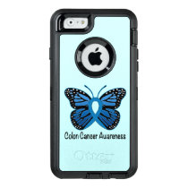 Colon Cancer Awareness: Butterfly OtterBox Defender iPhone Case