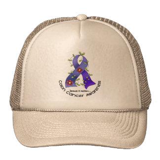 Colon Cancer Awareness FLOWER RIBBON 1 Trucker Hats