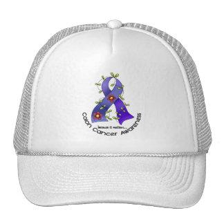 Colon Cancer Awareness FLOWER RIBBON 1 Mesh Hats