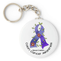 Colon Cancer Awareness FLOWER RIBBON 1 Keychain