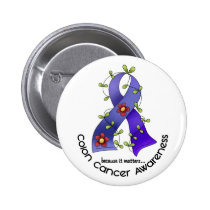 Colon Cancer Awareness FLOWER RIBBON 1 Pinback Button
