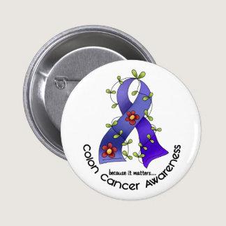 Colon Cancer Awareness FLOWER RIBBON 1 Pinback Button