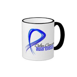 Colon Cancer Awareness Grunge Ribbon Mugs