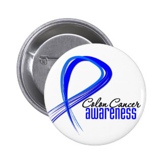 Colon Cancer Awareness Grunge Ribbon Pinback Button