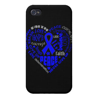 Colon Cancer Awareness Heart Words iPhone 4/4S Case