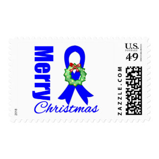 Colon Cancer Awareness Merry Christmas Ribbon Postage Stamps