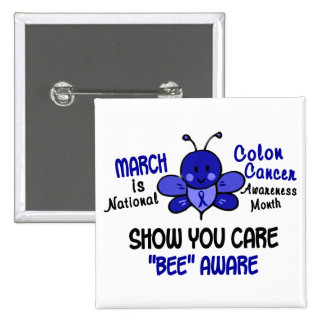 Colon Cancer Awareness Month Bee 1.1 2 Inch Square Button