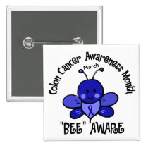 Colon Cancer Awareness Month Bee 1.2 Pinback Button