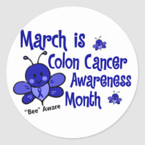 Colon Cancer Awareness Month Bee 1.3 Classic Round Sticker