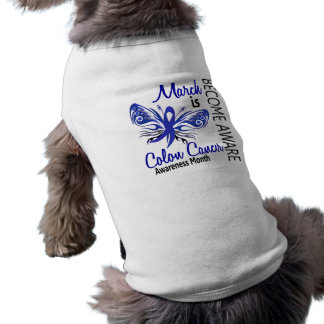 Colon Cancer Awareness Month Butterfly 3.1 Dog T Shirt