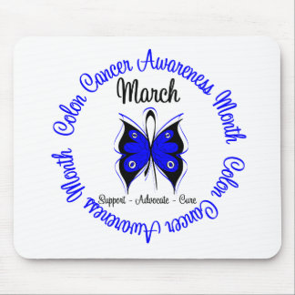 Colon Cancer Awareness Month Butterfly Mouse Mats